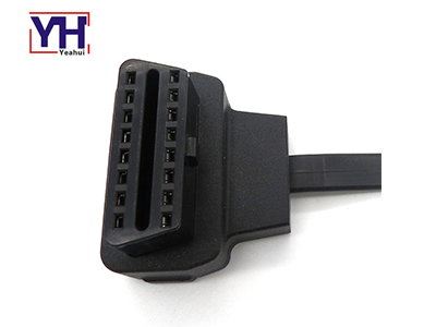 Over-molded OBD2 Right Angle Female Connector With Flat Cable