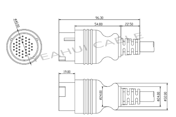 IVECO 38P male connector plug