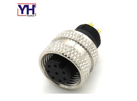 M12AF08713763SH M12 8pin Female A Coding Overmolded Waterproof Connector