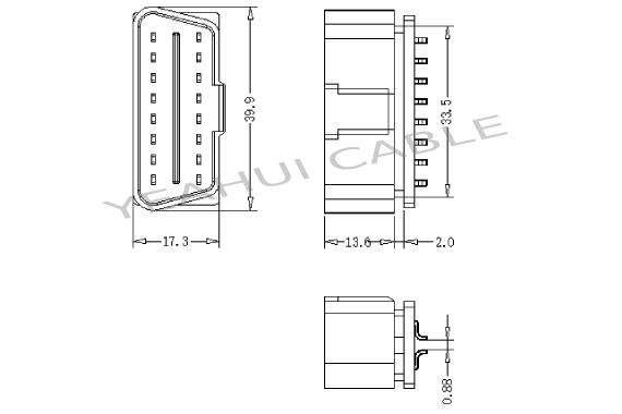 OBD 16P male for PCB and enclosure