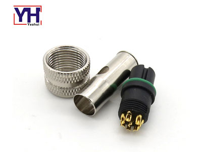 waterproof circular shield M series plug M12 8pin female connector