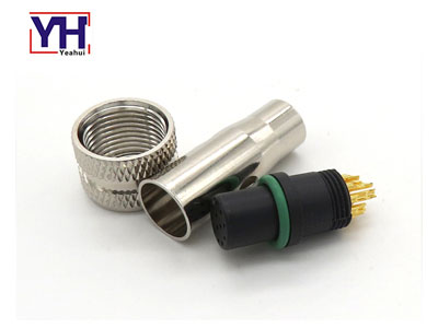waterproof circular shield M12 12pin female connector