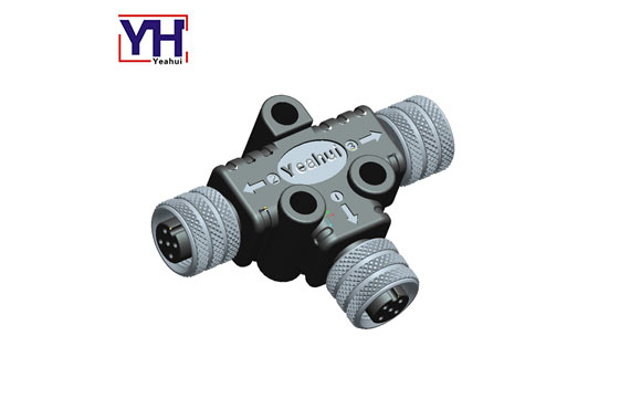 A Code Connector Assembly Female To Dual Female Waterproof Ip68 Circular Panel Mount M12 T Splitter C