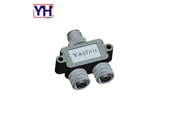Waterproof Cable Ip68 Adapter Male To Dual Female Y Splitter M12 5pin Circular Connectors Panel Mount